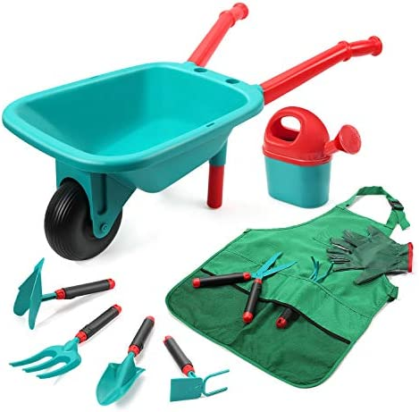 CUTE STONE Kids Gardening Tool Set Garden Toys with Wheelbarrow Watering Can Gardening Gloves product image