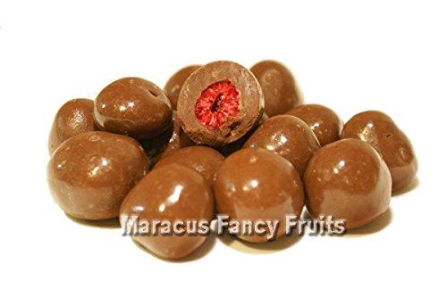 Himbeeren in zarter Vollmilchschokolade, gefriergetrocknete Himbeeren als leckerer Schoko Snack in Vollmilch Schokolade, intensiver Fruchtgeschmack, getrocknete Früchte in Schokolade - 250g