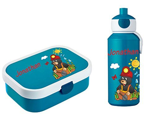 Mein Zwergenland Brotdose Mepal Campus inkl. Bento Box und Gabel + Campus Pop-up Trinkflasche mit Namen Blau, Maulwurf