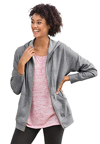 Woman Within Women's Plus Size Zip Front Tunic Hoodie - Medium Heather Grey, 4X