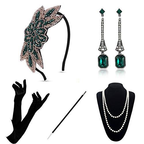 Accesorios Flapper de los años 20 – Accesorios de disfraz de Gatsby de los años 20, juego de accesorios de disfraz de Gatsby rugiendo, vintage de 1920, diadema de plumas para mujer (verde A)
