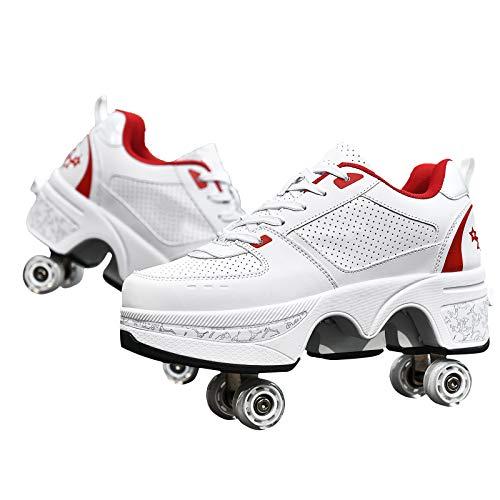 Zapatos con Ruedas Dobles Automática Calzado De Skateboarding Zapatos Invisible De Polea De Zapatillas De Deporte Luz Zapatos Aire Libre, 39