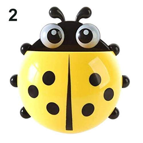 Kekailu Toothbrush Holders,Ladybug Toothbrush Holder Suction Ladybird Toothpaste Wall Sucker Bathroom Sets Stable Stand,Yellow