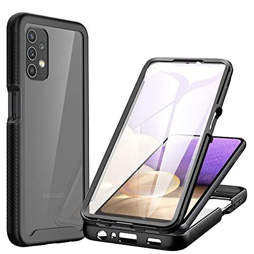 CENHUFO Funda Samsung Galaxy A32 5G /4G, Fundas Transparente antigolpes Case 360 Grados Protección Completa del Cuerpo Bumper con Protector de Pantalla, Carcasa para Samsung Galaxy A32 5G / 4G -Negro