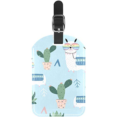 Luggage Tags Cute Llama Glasses Cactus Leather Travel Suitcase Labels 1 Packs