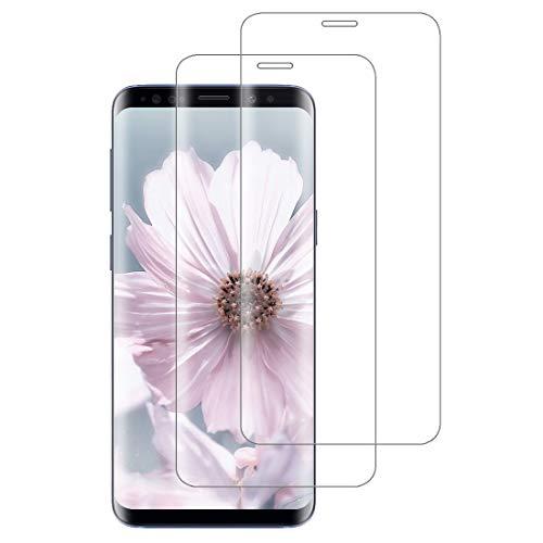 XSWO 2 Pièces Verre Trempé Compatible avec Samsung Galaxy S9, Vitre Protection [3D Couverture Complète] [Haute Sensibilité] [Dureté 9H] [sans Bulles] Film Protection d'écran Galaxy S9