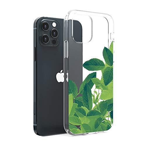 CasesByLorraine Funda compatible con iPhone 12 Pro Max 6.7 pulgadas, diseño de hojas tropicales transparentes y flexibles de TPU para iPhone 12 Pro Max 6.7 pulgadas (versión 2020)