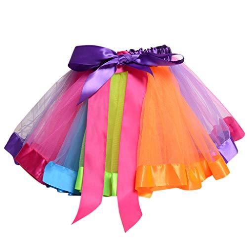 VIcoo kinderen peuters meisjes balleet dans ruches plissé Tutu Rok fantasie regenboog kleur glitter satijn rand petticoat kanten up bowknot A-Line jurk 0-8T - bont - klein