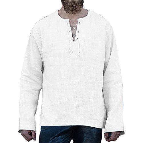 Męska bawełniana lniana koszulka z dekoltem w serek sweter moda na co dzień luźny sznurek pasek top plaża t-shirt z długim rękawem S-4XL