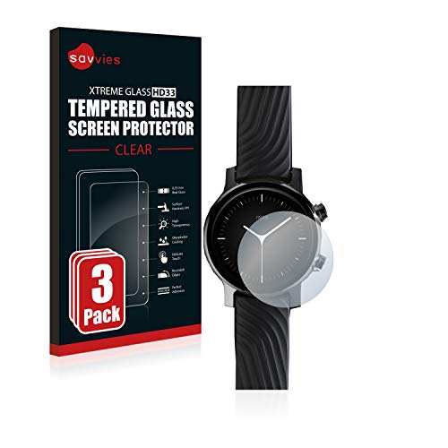 Savvies Panzerglas kompatibel mit Motorola Moto 360 (3. Generation) (3 Stück) - Echt-Glas, 9H Festigkeit, Anti-Fingerprint