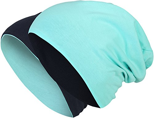 2 in 1 Wendemütze - Reversible Slouch Long Beanie Jersey Baumwolle elastisch Unisex Herren Damen Mütze Heather in 24 (8) (Dark Blue/Turquoise)