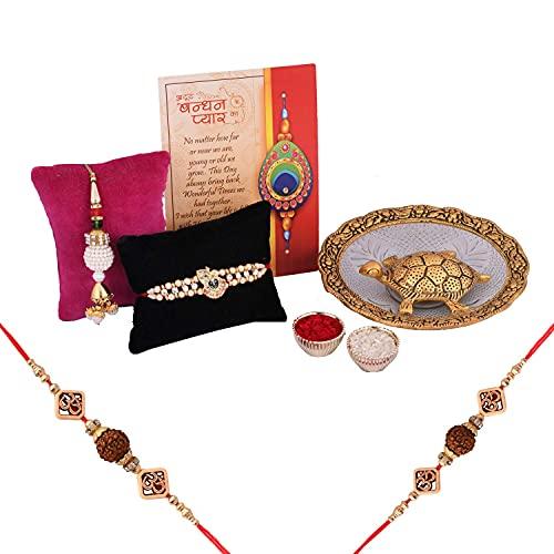 Collectible India Rakhi Combo Set for Brother - Rakshabandhan Gift for Bhaiya Bhabhi - Metal Tortoise Vastu Showpiece, Rudraksha Rakhi, Lumba Rakhi, Roli Greeting Card Rakhi Gifts for Brother
