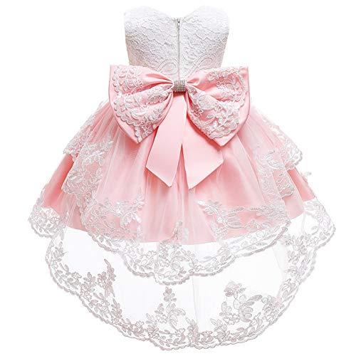 HOIZOSG Vestido de encaje de bautizo para niñas y bebés, de tul alto, bajo desfile, bautismo, formal, boda, bowknot fiesta de cumpleaños, vestido de baile - rosa - 18-24 meses
