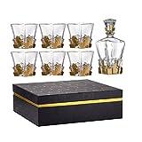 Decantador de whisky plomo CRISTAL FREE CRISTAL WHISKY SET 7 PIEZA - Decantador de whisky y vidrios de whisky Vaso con 6 vidrios de oro para espíritus, bourbon o escocés única elegante caja de regalo