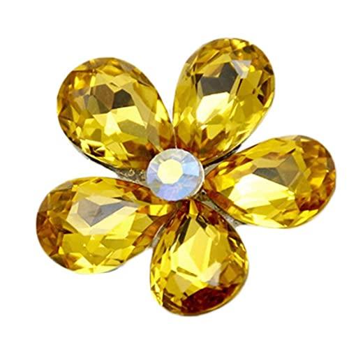 Ruluti Accesorios De Coches Interior Automóvil Aire Acondicionado Outlet Flores De Cristal De La Decoración del Coche Adornos Vent Perfume Decoración Amarillo