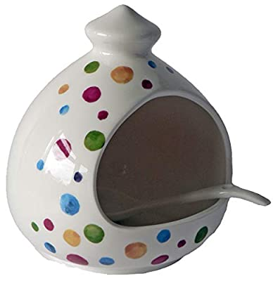 Spots Salt Pig. Large Porcelain Salt Pig with Ceramic Spoon Decorated with Colourful Spots by crackinchina