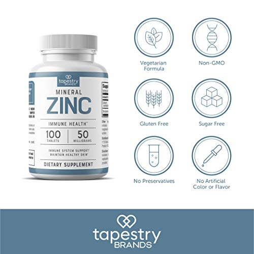 Zinc 50 mg - Support Immune System Health, Promote Healthy Hair, Skin, and Nails. Vegetarian Friendly, Non-GMO, Gluten-Free, Sugar Free. 100 Count - 50 mg Tablets, by Tapestry Brands