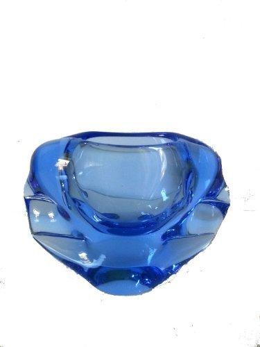 Oberstdorfer Glashütte asbak blauwe glazen asbak decoratieve schaal van sierglas kristalglas mondgeblazen breedte 15 cm