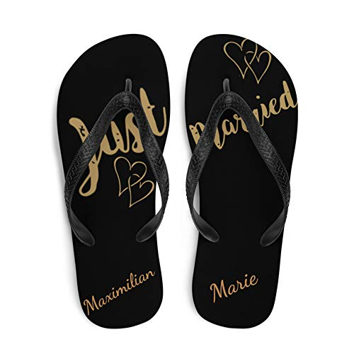 Lässig-Style Personalisierte Flip Flops als Geschenk für Brautpaar u. Freunde Hochzeits-Geschenk 1Paar (M, Just Married schwarz)