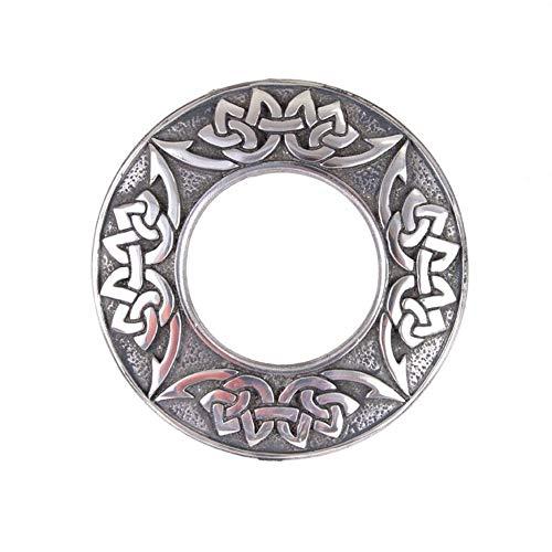 Traditional Scottish Celtic Chrome Matte Antique Kilt Plaid Shawl Sash Brooch Pin