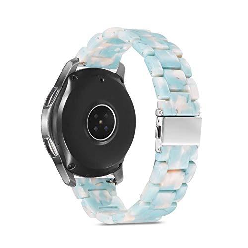 LLMXFC Correa para Samsung Galaxy Watch 46mm Active 2 40 44mm 20 mm 22mm Reloj de Resina Strap Gear ST3 Band Reemplazo para el Reloj Huawei GT (Band Color : Light Blue, Band Width : 20mm)