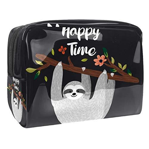 Bolsa de tocador de Viaje Pereza Gris portátil PVC Bolsa de cosméticos de Vistoso de Organizador de Maquillaje con Cremallera Apto para niñas 18.5x7.5x13cm