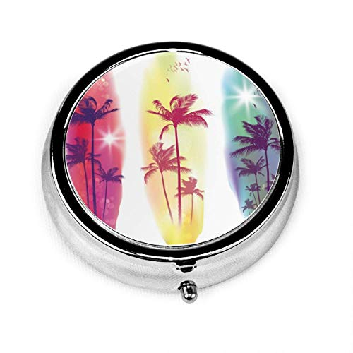 Round Pill Case with 3 Compartment Portable for Pocket Purse-Tropical Exotic Palm Trees Raster Beach Sunup Beautiful Coastline