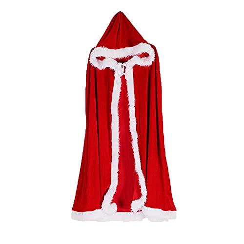 WFIT Vestido De Fiesta De Capa Cardigan Navidad Señora Santa Claus Traje De Terciopelo con Capucha del Cabo del Traje De Vestir Traje para El Rendimiento del Drama Fiesta De Navidad De