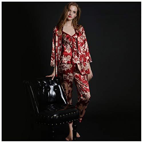 AXIANQIPJS pyjamaset voor mannen, badjas, lange mouwen, dun, voor ijs, zijde, bruiloft, pyjama, panty's, bruidspaar, kostuum, rood, sexy, natal, jaar nacht