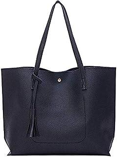 Onesea Women Tote Bags Top Handle Satchel Handbags PU Pebbled Leather Tassel Shoulder Purse