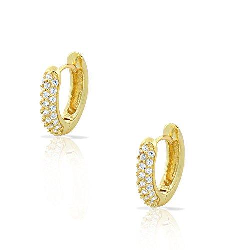 My Daily Styles - Orecchini ad anello, argento Sterling 925, tonalità orogiallo, zircone bianco, per donna o ragazza