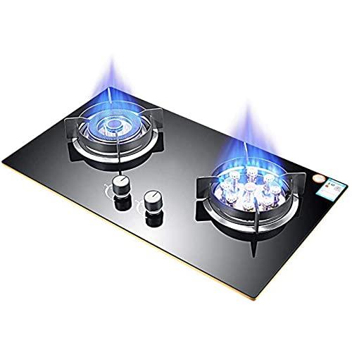 YXYY Placa de Cocina de Gas con Sellado de Combustible Doble, 2 quemadores, Vidrio Templado, Placa de Cocina de Gas de 5,2 W, Placa de Gas empotrable con protección de termopar, Gas licuado