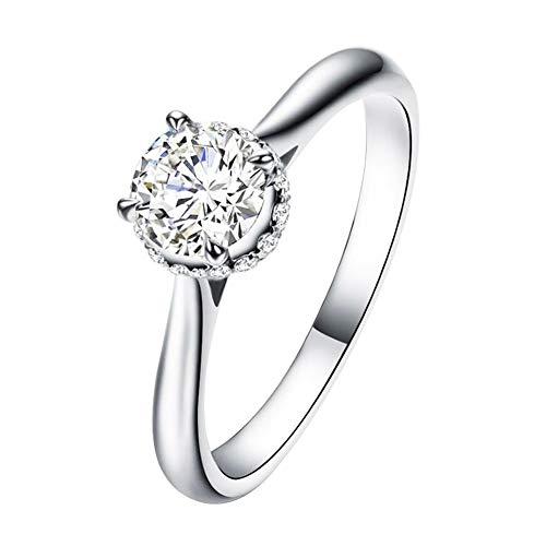 Jeulia 2 quilates Solitare anillos de compromiso de plata de ley 925 con corte redondo de diamantes de corte redondo, circonita cúbica, anillo de eternidad (18.25)