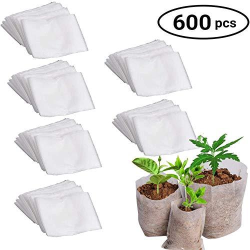 QINS 600 Pcs Non Tissé Graines Raising Sac Biodégradable Écologique Pépinière Pots Plante Cultiver Sacs Non Tissés Tissus Jardin Approvisionnement 12 * 10 CM