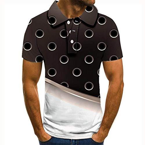 DRTWE Polo 3D para Hombre,3D Impresión Gris Blanco Burbuja Manga Corta Arriba Collar Camisa Polo para Los Hombres Transpirable Fresco Rápido Sudor Al Aire Libre Camisetas Deportivas Regalo para