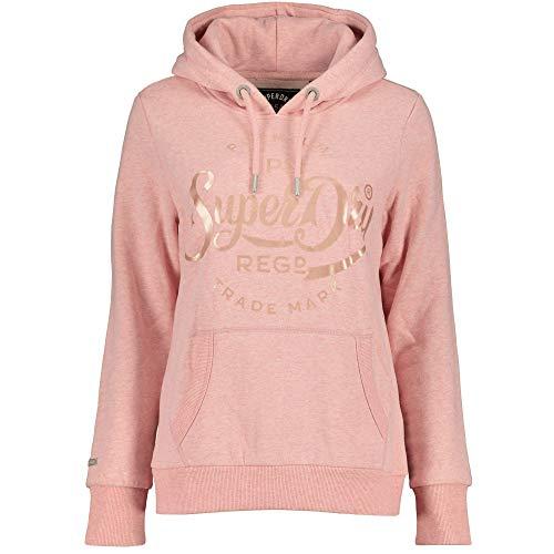 Superdry Damen Premium Script Pastel Satin Entry Hood Kapuzenpullover, Rosa (Shell Pink MJE), XS (Herstellergröße:8)