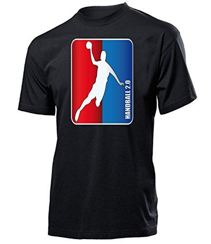 Handball 2.0 5348 Sport Fan Fanartikel Fanshirt Männer Turniershirt Sportbekleidung Geschenk für Herren T-Shirt Schwarz XL