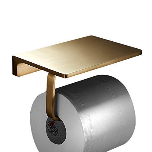 BATHSIR Stainless Steel Toilet Paper Holder with Shelf Brushed Gold,Wall Mounted Bathroom Phone Storage Tissue Hanger