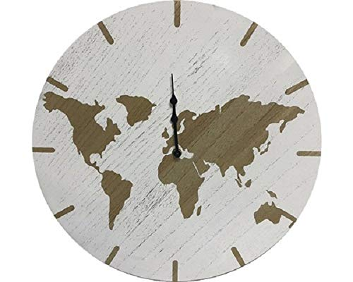 HOOMStyle - Orologio da parete con mappa del mondo, Ø 40 cm, in MDF, funzionamento a batteria, analogico