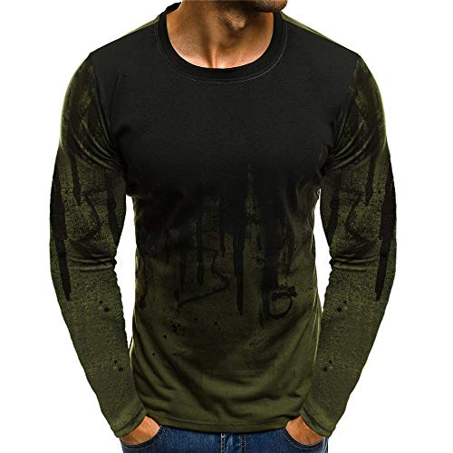 ZYUD T-Shirt 3D Digital Printed Long-Sleeve Fashion Cool Suit Gradient Color Long-Sleeve Muscle Basic Blouse Tee Shirt Top Sports Fitness Personalized Printing Round Neck Men's Shirt Green