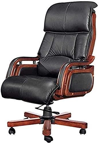 HJW Silla de escritorio de oficina ajustable con apoyabrazos Lumbar Support Desk Silla ergonómica Silla de madera Silla giratoria Sillón