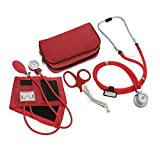 ASATechmed Nurse/EMT Starter Pack Stethoscope, Blood Pressure Monitor and Free Trauma 7.5' EMT Shear Ideal Gift for Nurse, EMT, Medical Students, Firefighter, Police and Personal Use (Red)