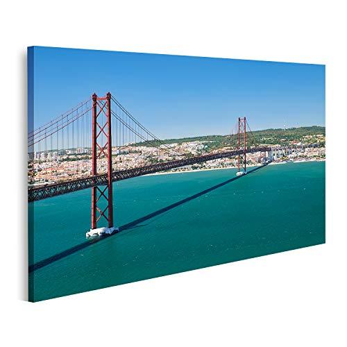 islandburner Cuadro en Lienzo Puente del 25 de Abril (Ponte 25 de Abril): un Puente Colgante sobre el río Tegus Lisboa Portugal Cuadros Modernos Decoracion Impresión Salon