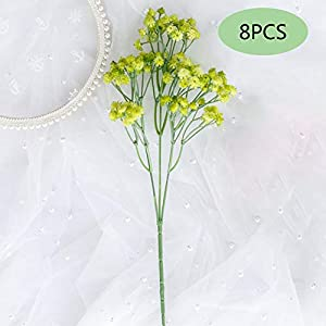 Silk Flower Arrangements Artificial Gypsophila, 8Pcs Baby Breath Flowers Fake Gypsophila Wedding Bridal Bouquet for Home Garden Indoor Outdoor Arrangement Decoration,Green