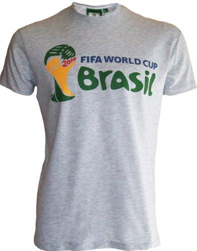 Copa del Mundo 2014de fútbol AU Bresil–Camiseta oficial FIFA World Cup Brasil 2014–para hombre, talla DE adulto gris Talla:L