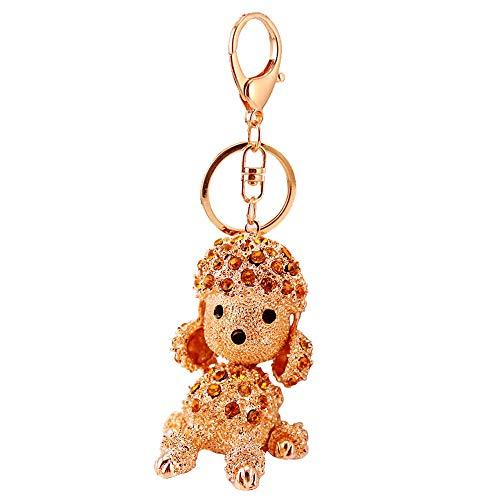 Kissweet Cute Rhinestone Poodle Puppy Keychain Bling Bling Diamond Crystal Dog Key Chains Ring Holder Purse Handbag Pendant Charm Gifts (Brown)