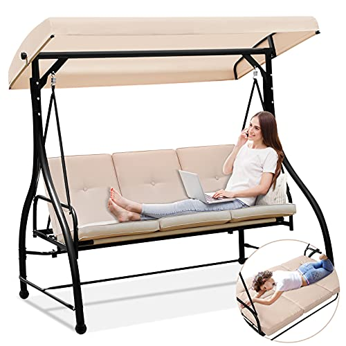 Aoxun Patio Swing Chair with Canopy Stand -...
