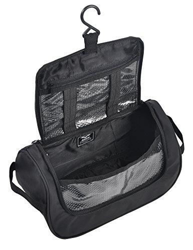 MIER Travel Cosmetic Kit Hanging Organizer Makeup Toiletry Bag for Men and Women Black