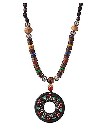 EXINOX Collar Budista Largo con Cuentas de Madera   Etnico Buda   Mujer   (Redondo)