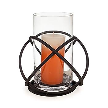 Danya B KF219 Rustic Home Décor - Large Indoor/Outdoor Orbits Centerpiece - Iron Metal and Glass Hurricane Vase Candleholder